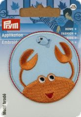 Embroidered motif, lobster, light blue-orange