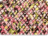 Satin fabric,abstract rhombus, yellow-rose pink, 138cm