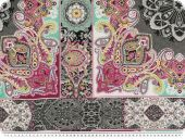 Precious silk fabric, paisly and ornaments, 135cm
