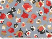 Valuable silk chiffon, flowers,  blue-red, 140cm