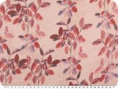 Valuable silk chiffon, leaves,  rose pink-red, 135cm