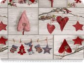Deco fabric, christmas fabric, patch, hearts, grey-red, 140c