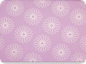 High-class oilcloth, flowers, white-lilac, 160cm
