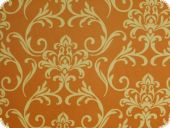 High quality deco fabric, flowers, orange-brown