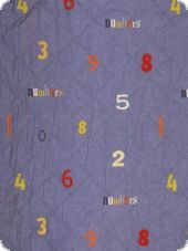 Cotton quilt, single-sided, numbers, multicolour, 140cm high