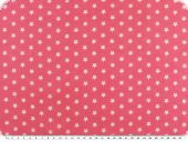 Cotton printed with stars, pink-white, 140cm