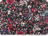Satinlike polyester fabric, flowers, black multicolour, 150c