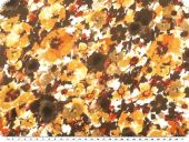 Satinlike polyester fabric, flowers, brow multicolour, 150cm