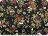 Polyester satin,  flowers, black and green, 150cm