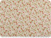 Cotton print, flowers, beige-multicolour, 160cm