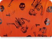 Foils print, carnival, skeleton, orange, 115cm