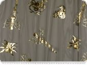 Tulle with foils-print, Halloween-Carnival, gold, 150cm
