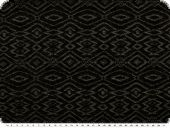Cotton knitware,  geom pattern, black-mouse grey, 150cm
