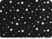Jersey with stars, cotton-polyester blend, black, 145cm