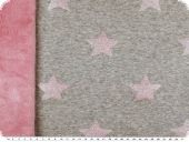 Double-face fabric with teddy, lurex stars, pink-grey, 160cm
