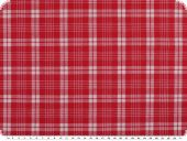 Cotton linen blend, checked, red-white, 140cm