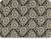 Viscose print, flowers and ornaments, black-yellow, 137cm