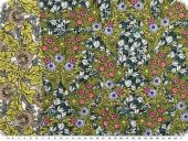 Viscose print, flowers, with border, green-petrol, 138cm