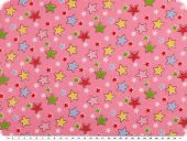 Children fabric, cotton, twill, stars, rose pink, 160cm