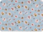 Children fabric, cotton, twill, ice cream, light blue, 160cm