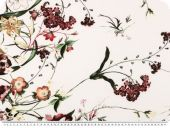 Flower print, elastic, ecru-red, 150cm