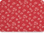 Summerly flower print, elastic, red-white, 150cm