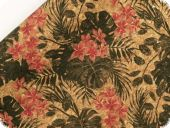 Cork fabric, rolled, 50x68cm, flowers, cork-black-red