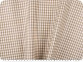 Coated cotton fabric, checks, washable, beige, 140cm