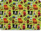 Cotton jersey, pirates, may green-multicolour, 150cm
