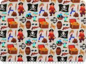 Cotton jersey, pirates, grey-multicolour, 150cm