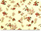 Cambric fabric, flowers, vanilla, 135cm