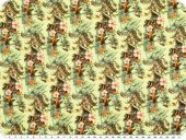 Viscose fabric, flowers ans parrots, yellow-green,  143cm