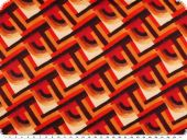 Polyester print, lines, peached, orange-red-cream, 149cm
