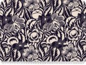 Viscose print, flowers, purple-white, 140cm