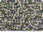 Fine Cambric fabric, flowers, green-violet, 150cm