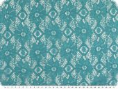 Cotton lace, flowers, turquoise, 145cm