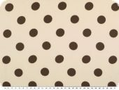 Chiffon fabric, big dots, brown on ecru, 150cm