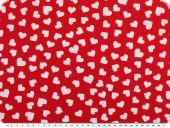 Cotton print,  hearts and flowers, red-multicolour, 140cm