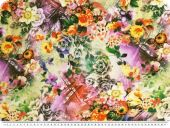 Mousseline, viscose print, flowers, multicolour, 140cm