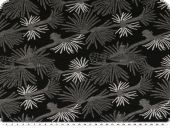 Knitted fabric , Jacquard, flowers, black-grey,150cm