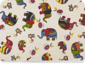 Deco fabric , coloured elephants, multicolour, 140cm