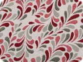 Decorative jacquard fabric, tendrills, ecru-grey-red, 140cm
