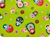 Children fabric, matryoshka, green,  cotton print, for garme