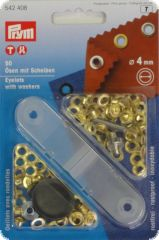 Eyelets with washers, metal, 50pcs., gold-coloured