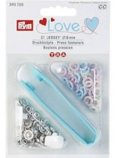 PRYM Love press fasteners, rose pink, light blue,pearl