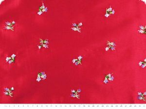 Taffeta embroidered, flowers, red, 136cm