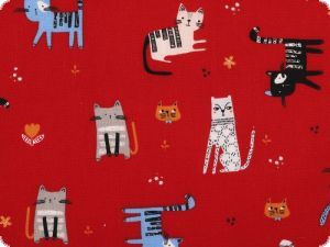Children fabric, cotton, cats, red, 140cm