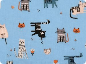 Children fabric, cotton, cats, sky blue, 140cm
