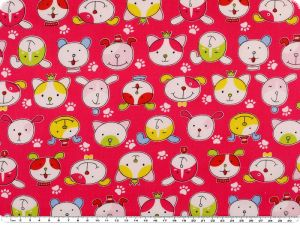 Cotton print for children, dog faces, pink, 155cm