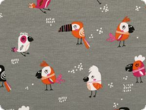 Cotton jersey, children fabric, birds, grey, 150cm